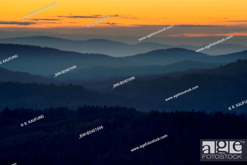 Stock Photo: view to the landscape of Bavarian Forest in evening light, Germany, Bavaria, Bavarian Forest National Park.