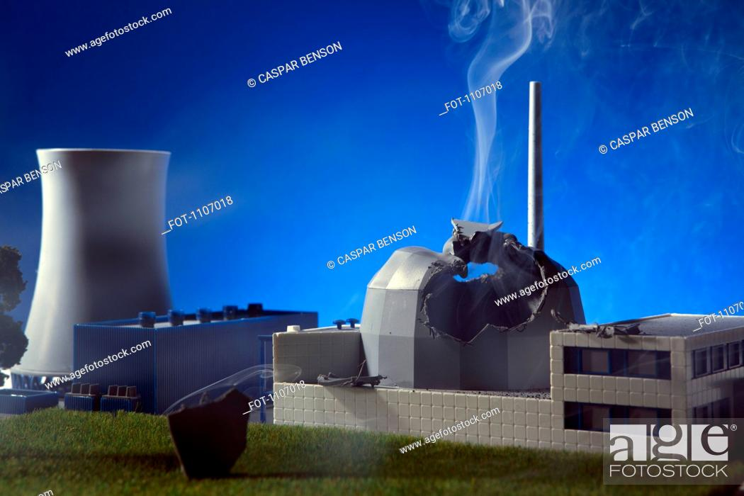 Stock Photo: A model built to scale of an explosion at a nuclear power plant.