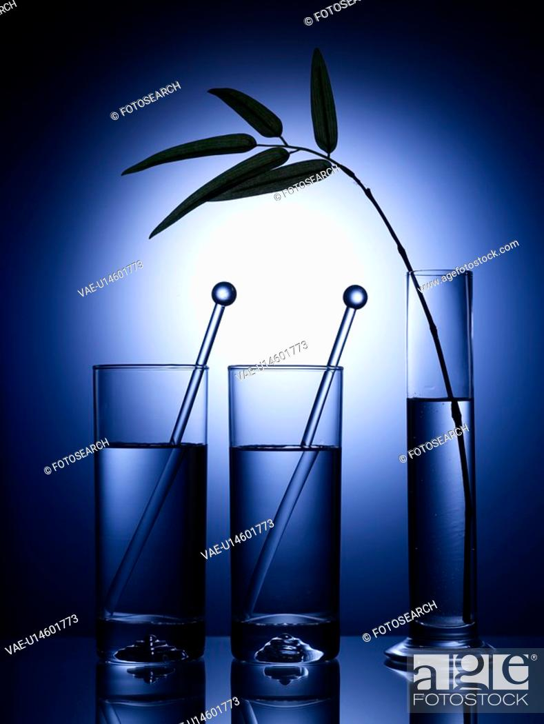 Stock Photo: kitchen item, vase, cup, glass cup, leaf, glass vase.