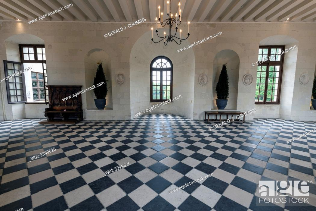 Stock Photo: Europe France Chenonceaux : 2019-07 The interior of the Medici gallery in the castle of Chenonceau. Itâ. . s 60 metre long checkered tiled floor.