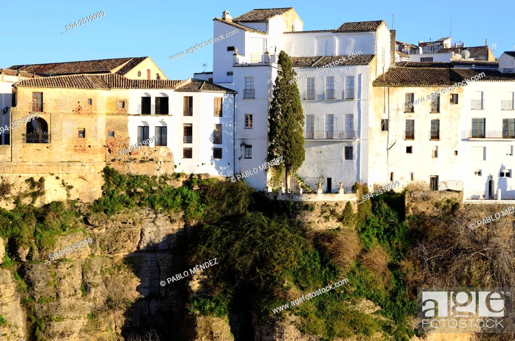 Stock Photo: View of the Cut and hanged houses of Ronda, Malaga, Andalusia, Spain.