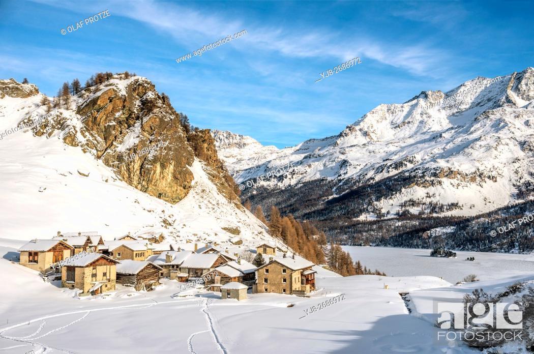 Stock Photo: Heidi Village Grevasalvas in Winter, Engadine, Grisons, Switzerland.