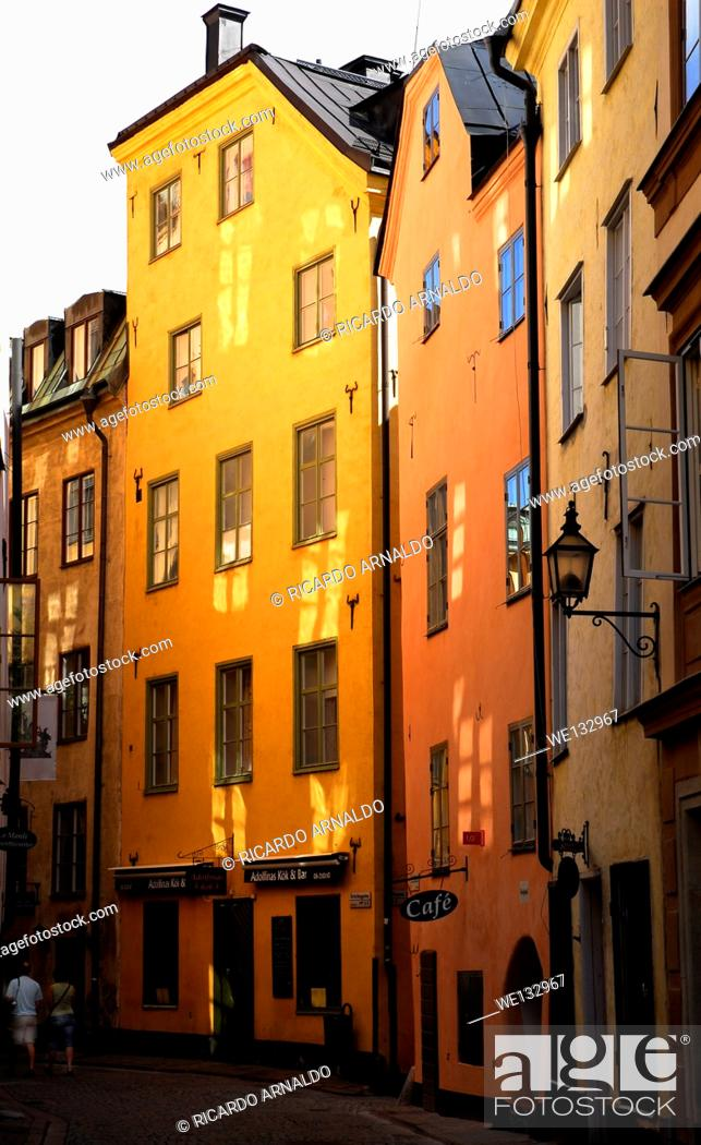 Stock Photo: A Street in Old Stockholm.