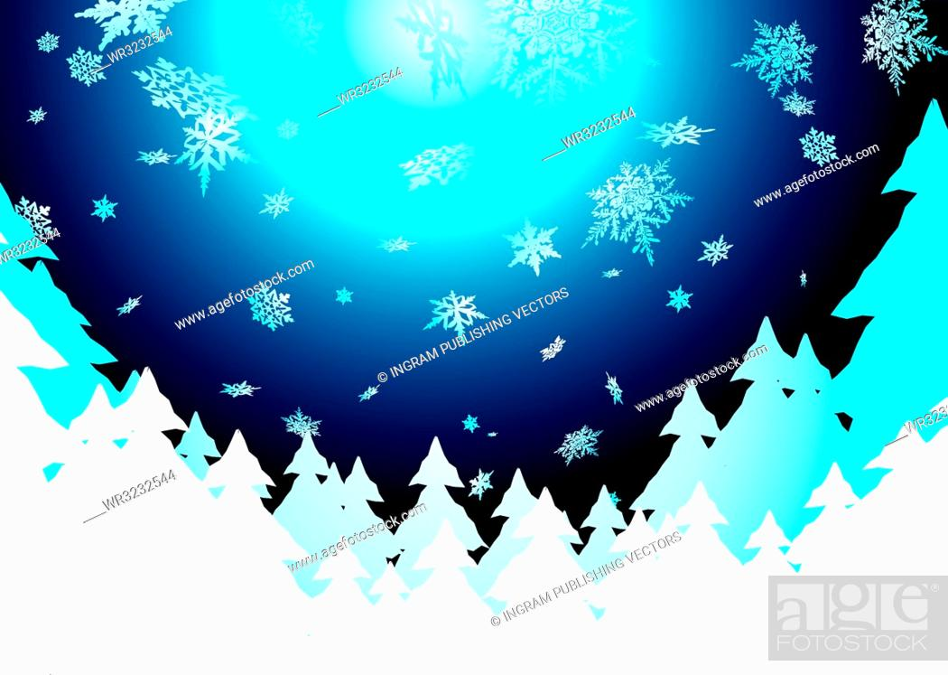 Vector: Christmas background showing snow fall in the evening sky.