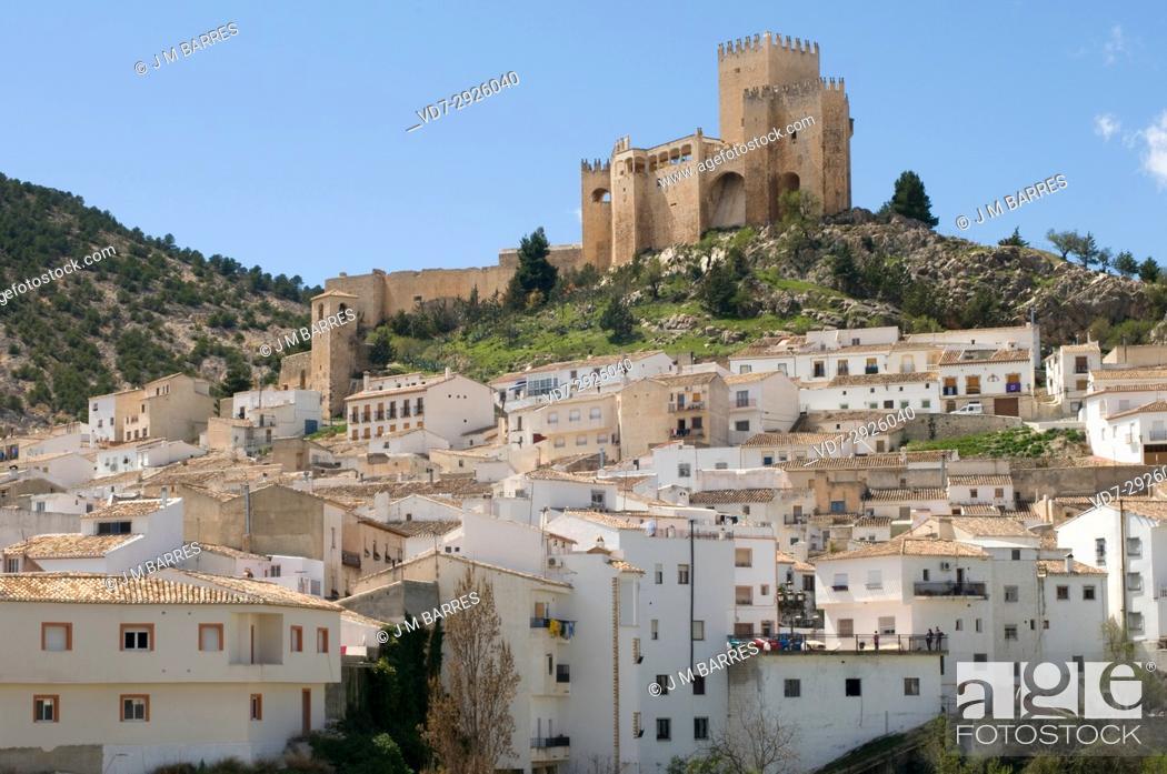Stock Photo: Velez Blanco, castle (XVI century) and town. Almeria province, Andalucia, Spain.