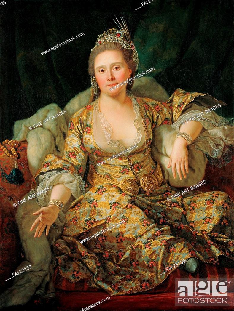 Stock Photo: Portrait of Annette Duvivier, Comtesse de Vergennes, in Oriental Costume. Favray, Antoine de (1706-1791). Oil on canvas. Orientalism.