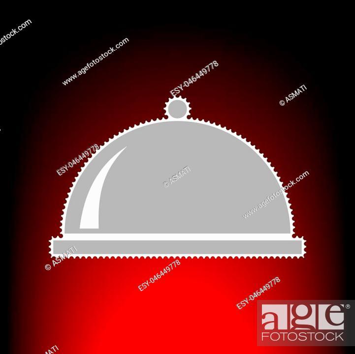 Vector: Server sign illustration. Postage stamp or old photo style on red-black gradient background.