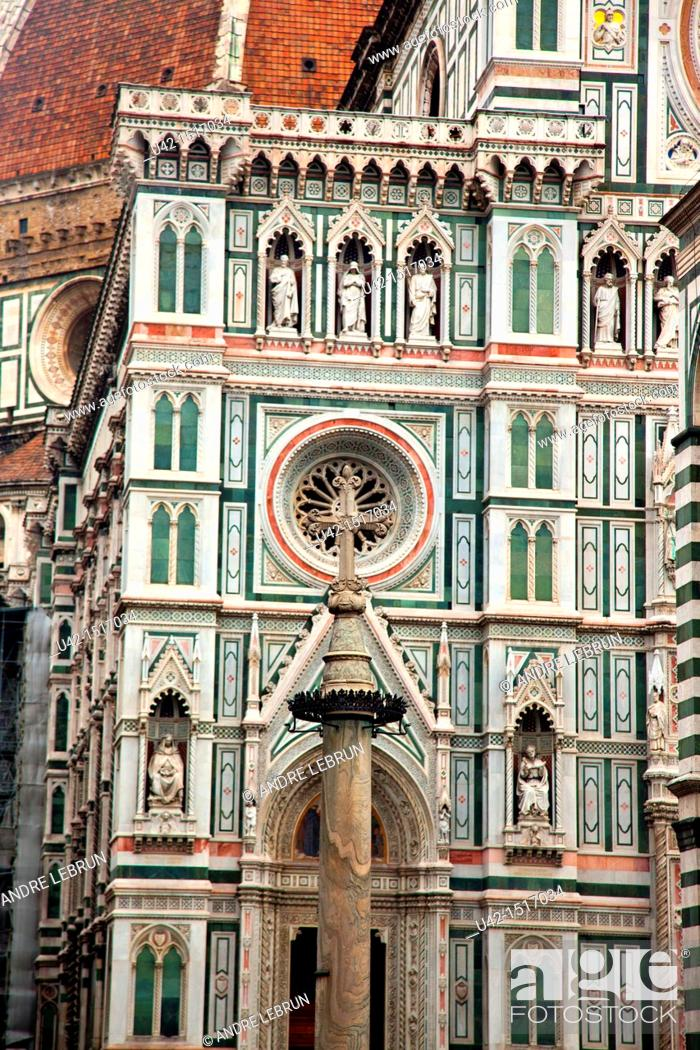 Stock Photo: The facade of the Duomo in Florence, Tuscany, Italy.