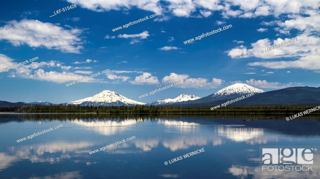 Stock Photo: Mount South Sister, Mount Broken Top, Mount Bachelor, Deschutes County, Oregon, USA.