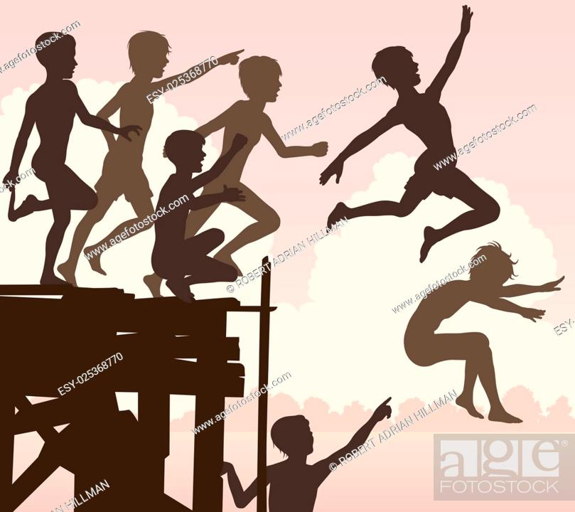 Stock Vector: EPS8 editable vector cutout illustration of children jumping off a wooden jetty.