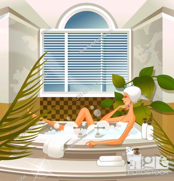 Stock Photo: Woman bathing in bathtub.