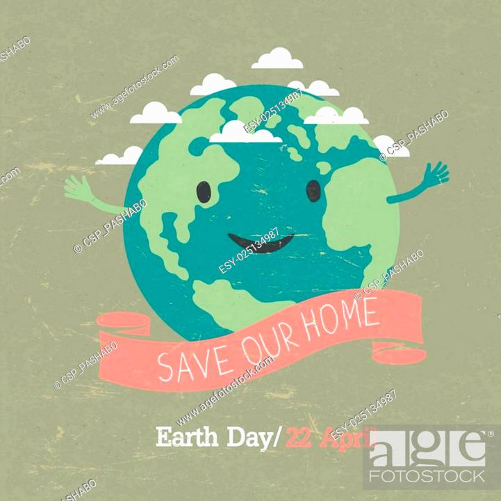 Stock Vector: Vintage Earth Day Poster. Cartoon Earth Illustration. On grunge texture. Grunge layers easily edited.