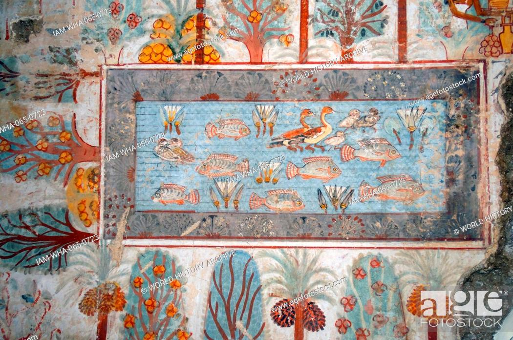Stock Photo: Fresco from the tomb of Nebamun, shows a pool in a garden that might have belonged to Nebamun. The pool is full of birds, lotus flowers and tilapia fish.