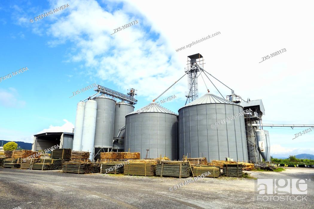 Stock Photo: Wheat silos - Tuscany, Italy.