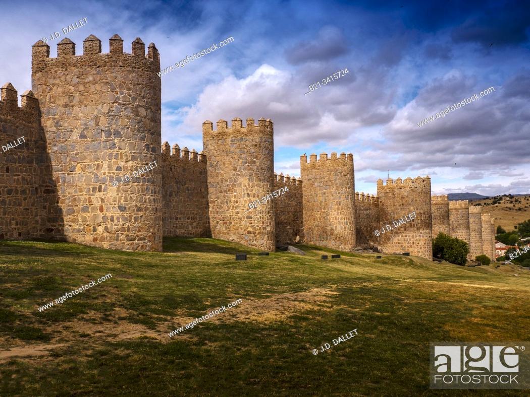 Stock Photo: Spain, Castilla-Leon, Ávila, The Walls of Ávila. Its main monument is the imposing Walls of Ávila (11th-14th centuries), begun in 1090.
