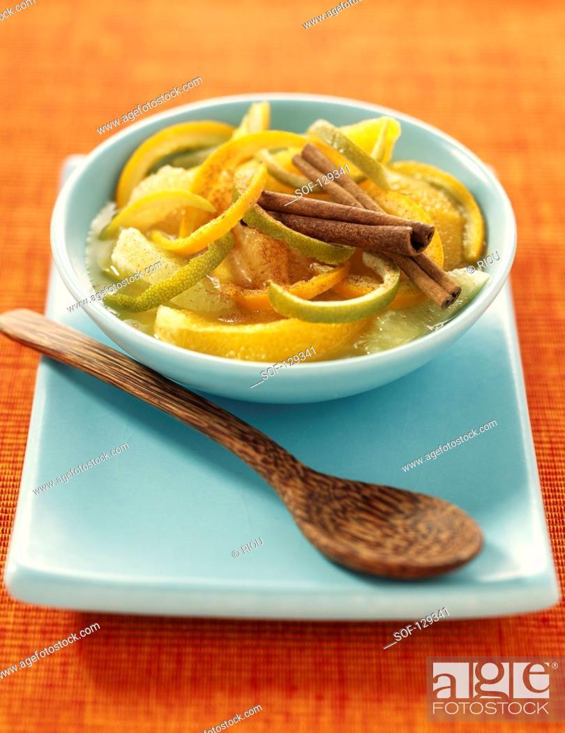 Stock Photo: Citrus fruit and honey soup.