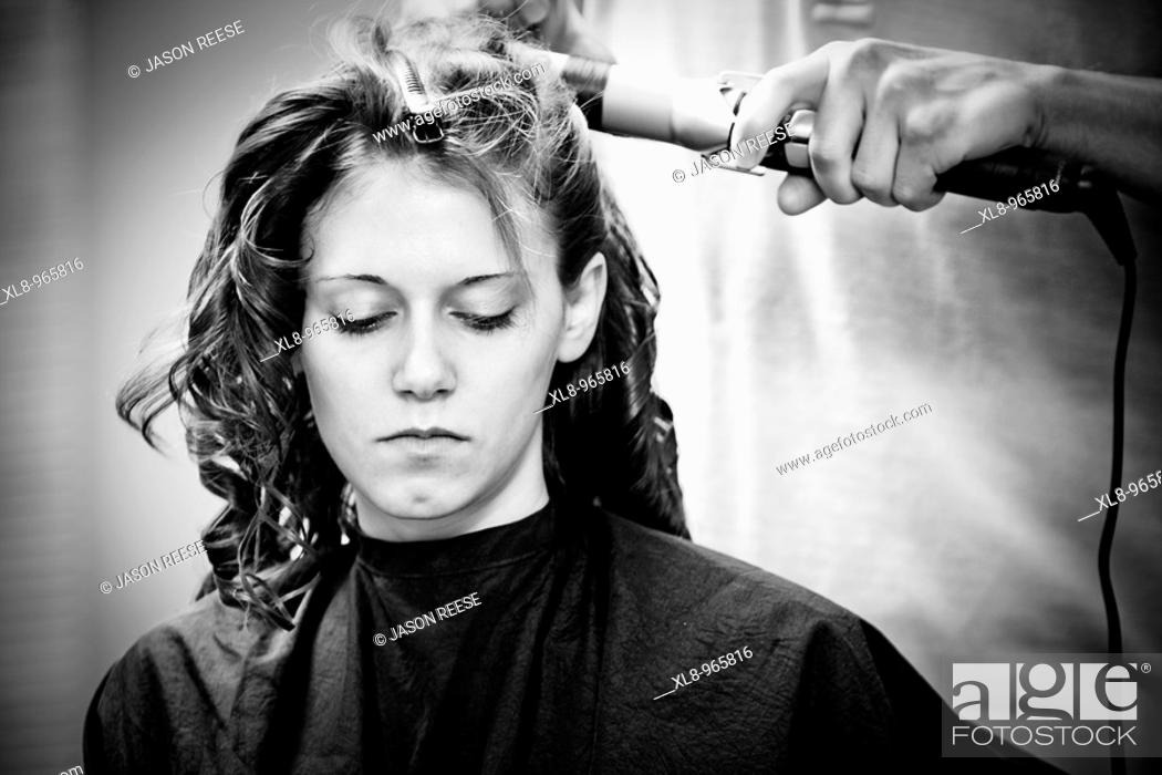 Stock Photo: Bride getting ready, hair salon, makeup.