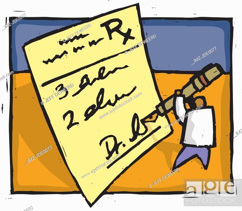 Stock Photo: doctor writing a prescription.