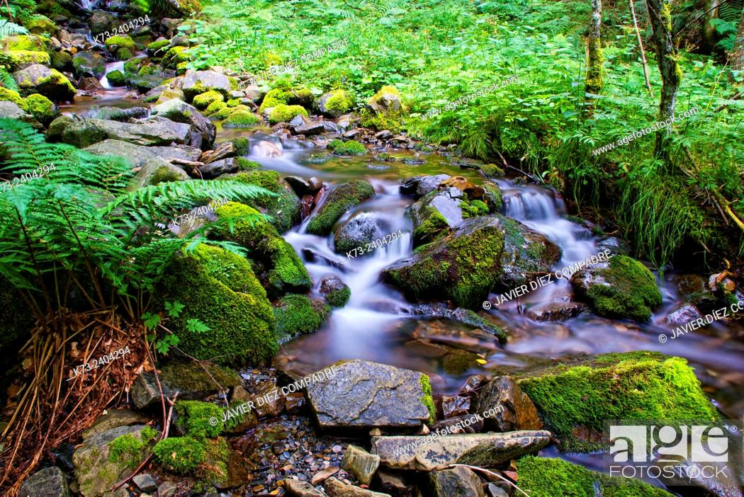 Stock Photo: Waterfall. Santa Cruz del Valle Urbion. Sierra de la Demanda. Burgos Province. Castilla y Leon. Spain.