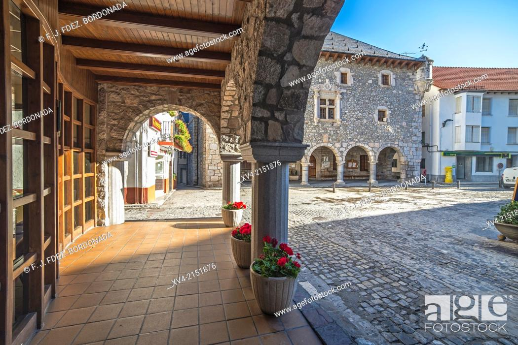 Stock Photo: Bielsa council Historic building. Pineta Valley, Huesca Pyrenees, Aragón, Spain.