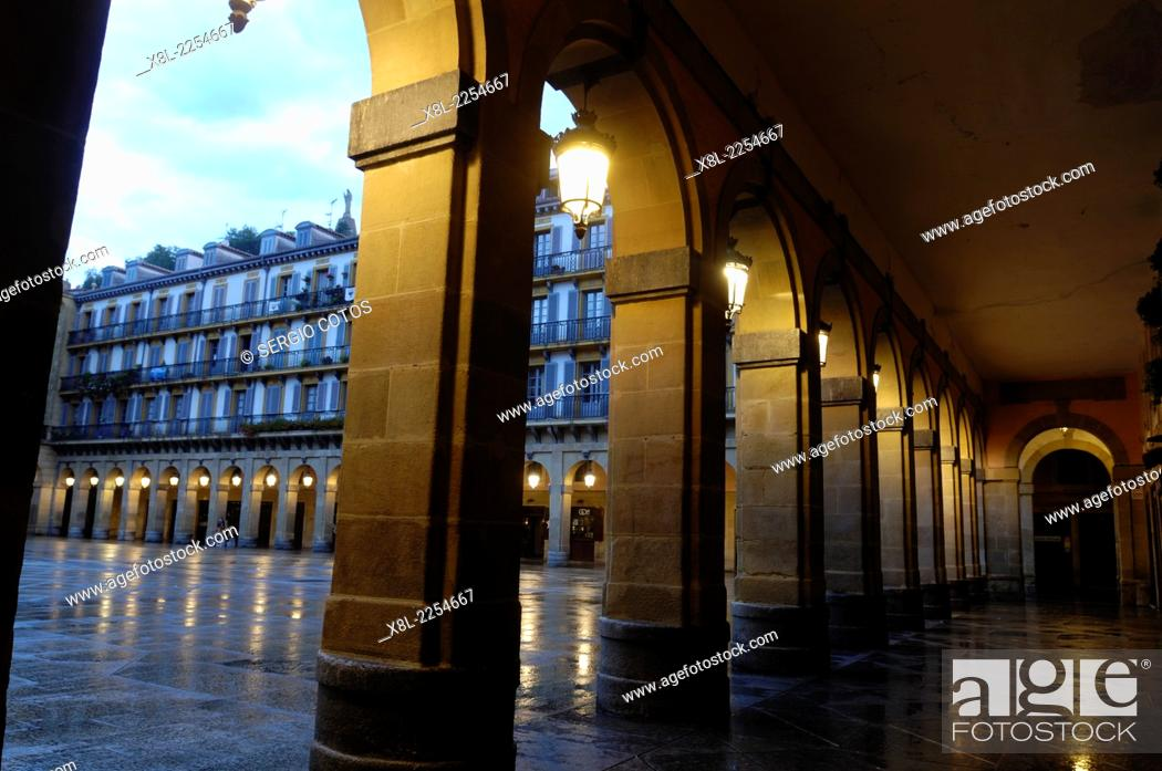 Stock Photo: Porches on the Constitution square in San Sebastian, Basque Country, Guipúzcoa, Spain.