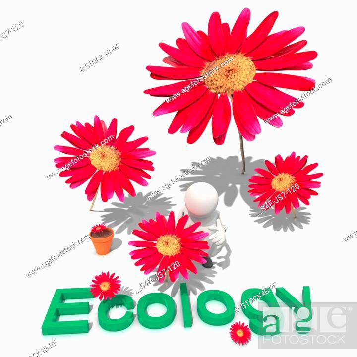 Stock Photo: Red flowers growing around anthropomorphic figure, CGI.