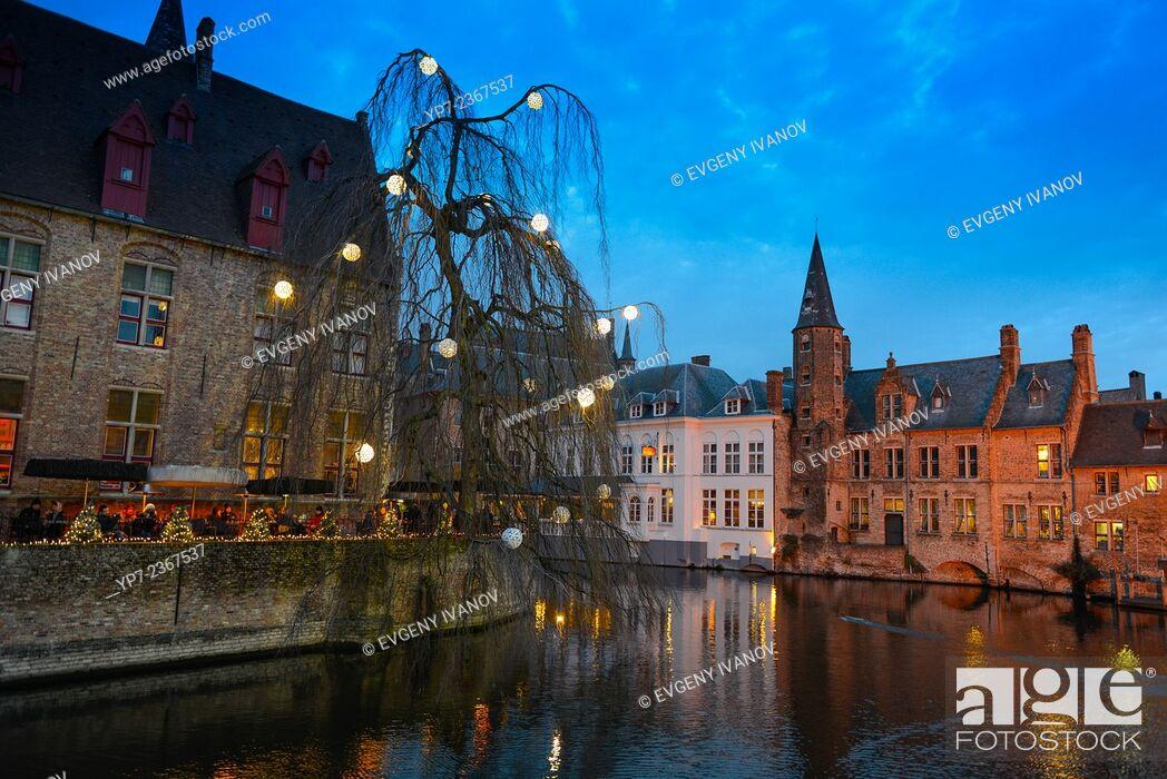 Stock Photo: Dijver River Canal Restaurant, Brugge, Belgium.