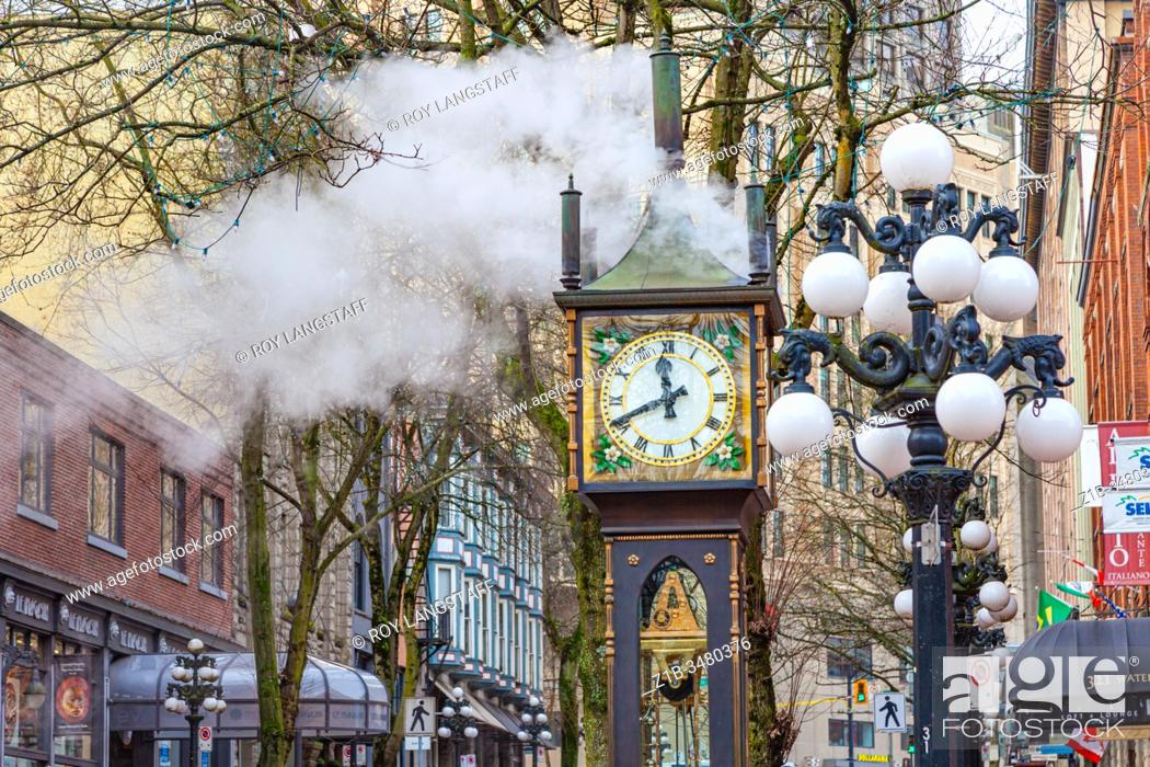 Stock Photo: Steam clock located on Water Street in the Gastown district of Vancouver Canada.