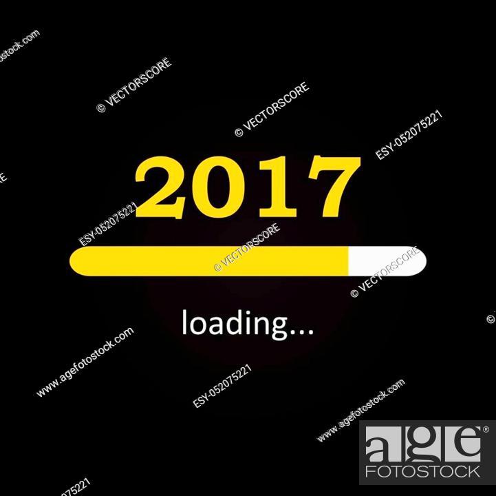 Stock Vector: Loading 2017 inscription bar - flat design template, yellow edition.