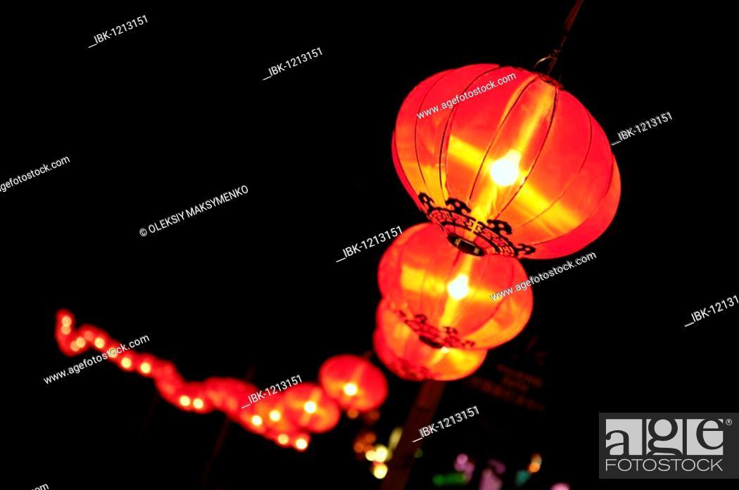 Stock Photo: Chinese Lanterns glowing at night.