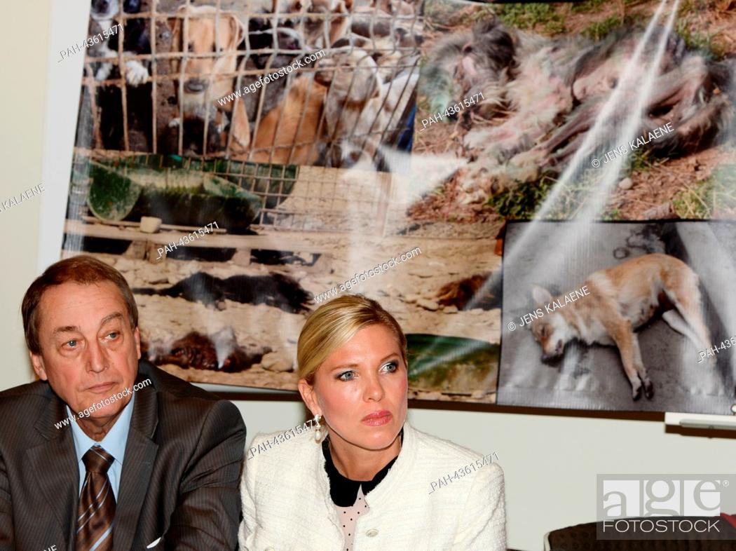 Stock Photo: The preasident of The European Animal and Nature Protection Association (ETN) Dieter Ernst and animal rights activist Princess Maja von Hohenzollern speak at an.