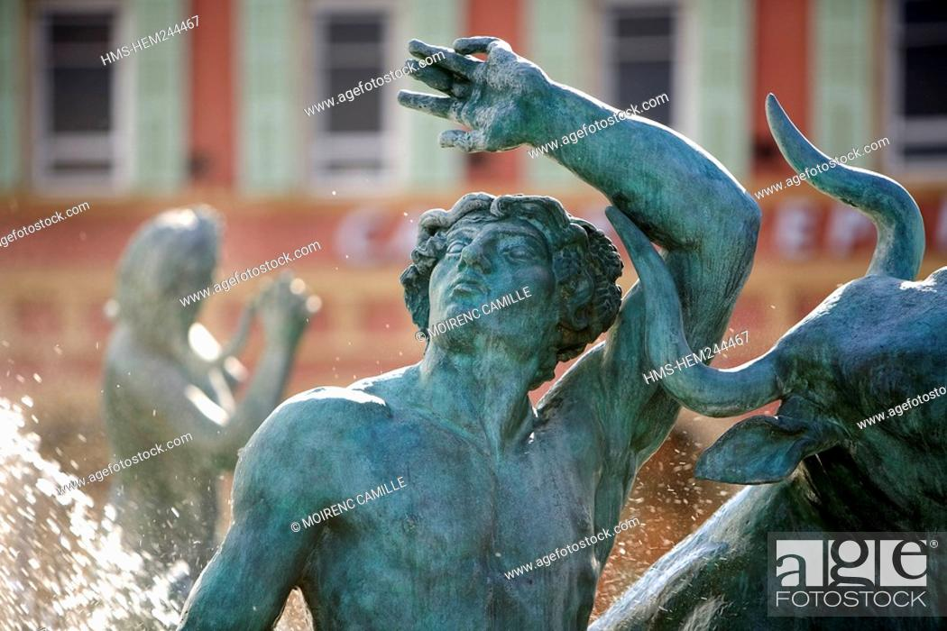 Stock Photo: France, Alpes Maritimes, Nice, Old Town, Place Massena, Fontaine du Soleil Fountain of the Sun.