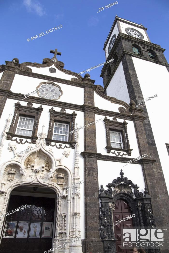 Stock Photo: Sao Sebastiao cathedral in Ponta Delgada Sao Miguel island. Azores, Portugal.