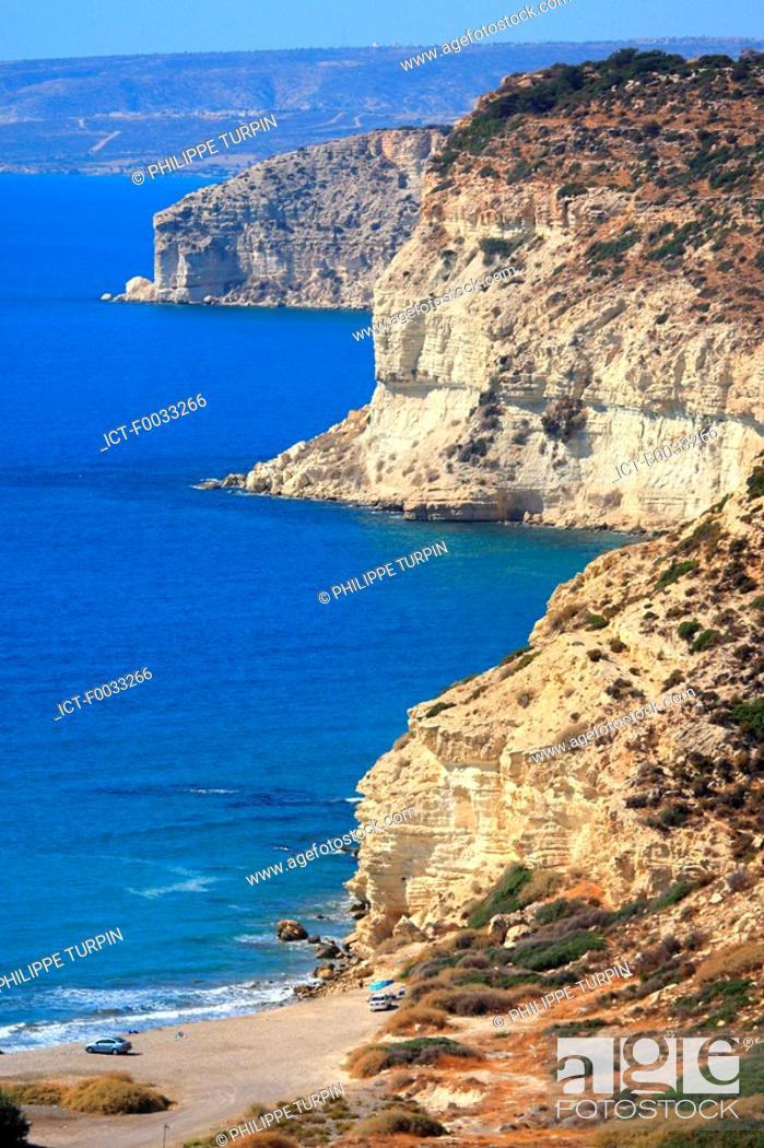 Stock Photo: Cyprus, Kourion, cliffs and beach.