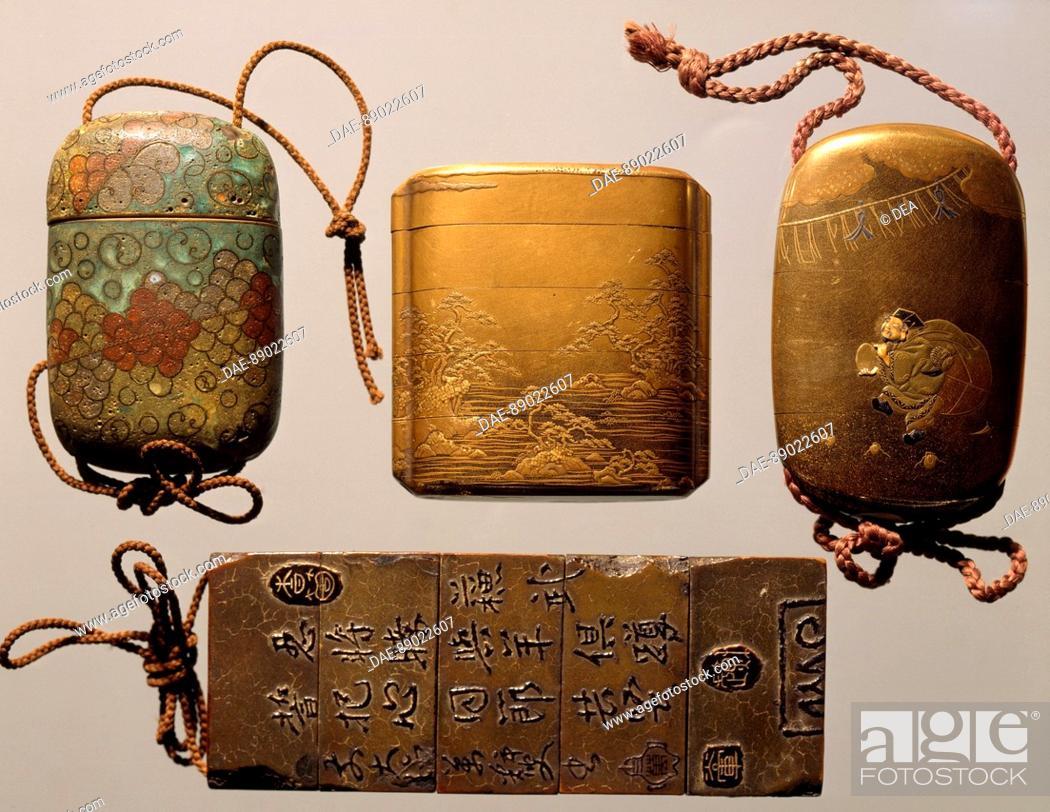 Stock Photo: Inro in lacquered wood, Goldsmith's art, coral, Japan. Japanese Civilisation, 18th-19th century.  Genoa, Museo Di Arte Orientale Edoardo Chiossone (Art Museum).