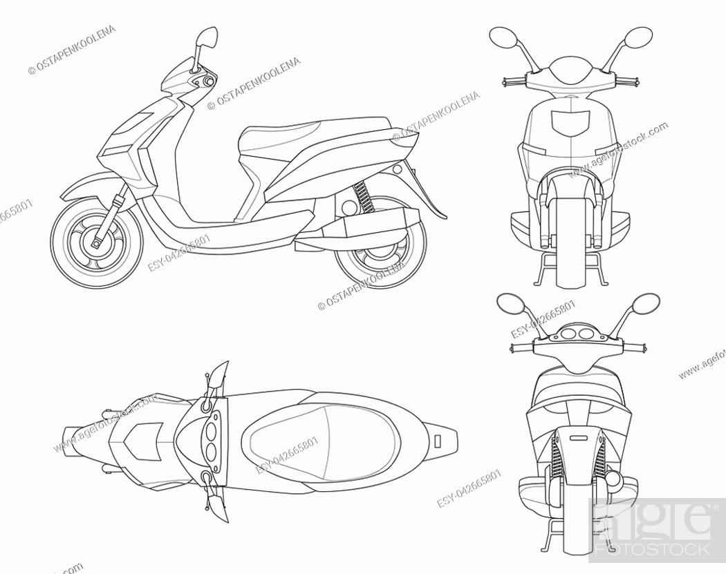 trendy scooter outline isolated on white background isolated motorbike template for moped stock vector vector and low budget royalty free image pic esy 042665801 agefotostock https www agefotostock com age en stock images low budget royalty free esy 042665801