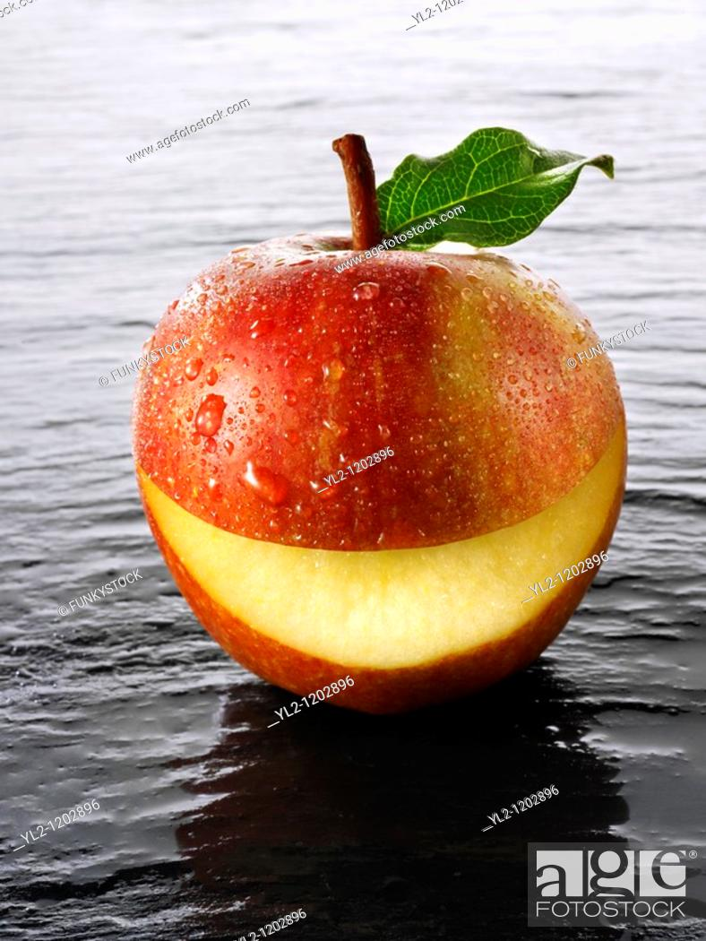 Stock Photo: Cox's smiley apple.
