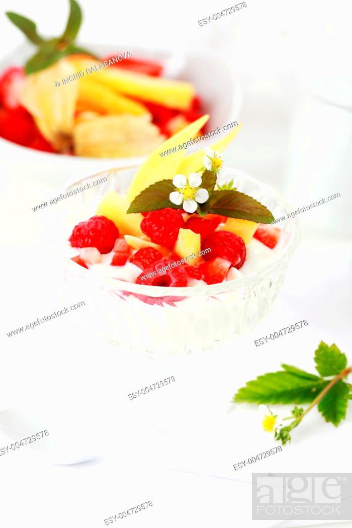 Stock Photo: Natural yogurt with fresh fruits.
