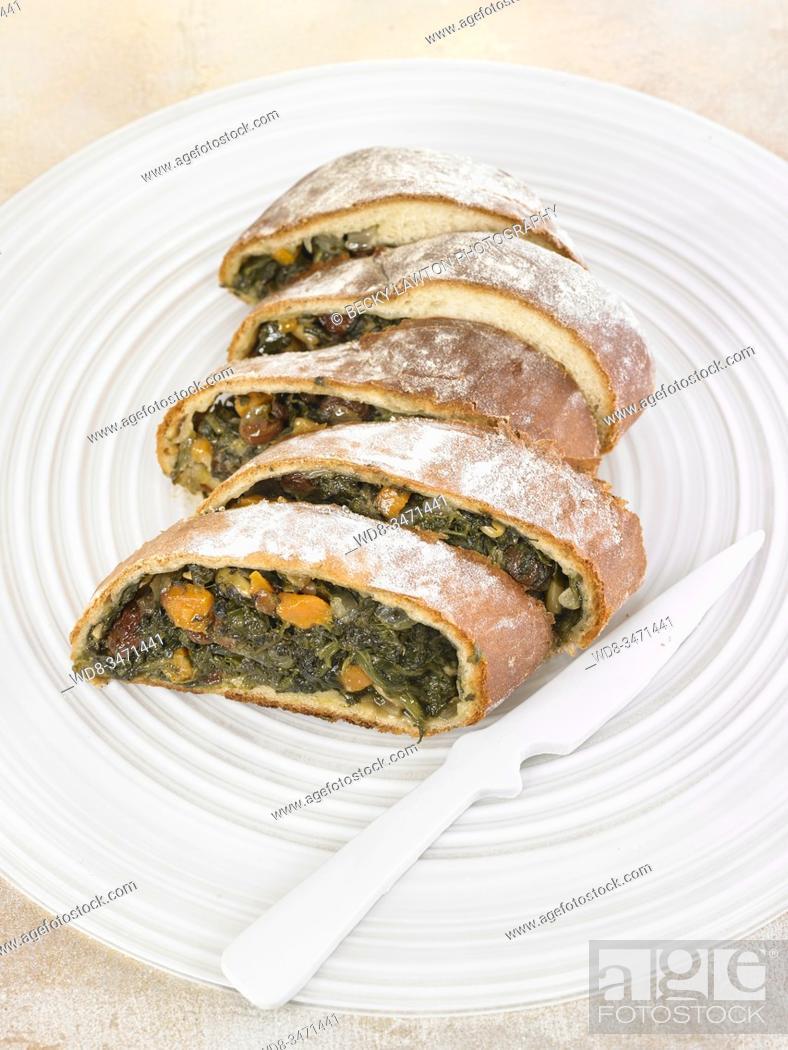Stock Photo: roulade de espinacas / spinach roulade.