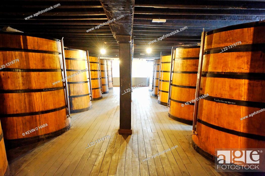 Stock Photo: Cellar of the Madeira Wine Company, Madeira wine barrels, Funchal city, Madeira Island, Portugal.