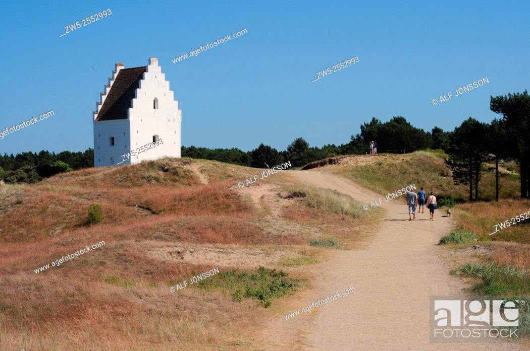 Stock Photo: The sand covered church at Skagen dune plantation, Denmark.