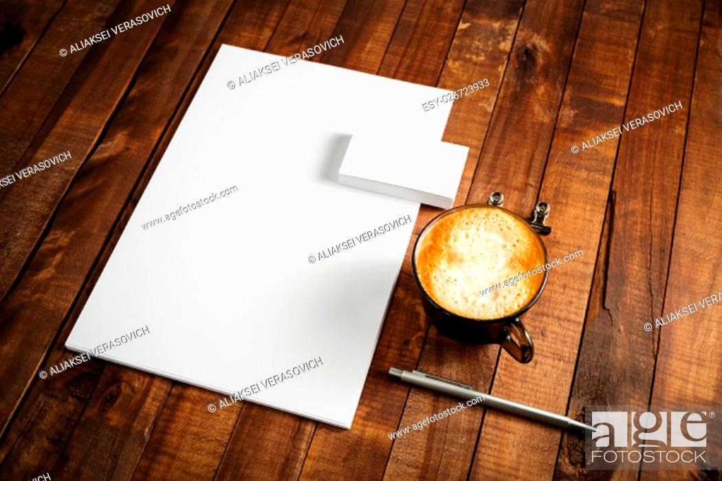 Stock Photo: Photo of blank stationery set on vintage wood table background. Template for design portfolios. Mock-up for branding identity for designers.