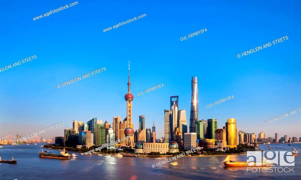 Stock Photo: Pudong skyline and Huangpu river, Shanghai, China.
