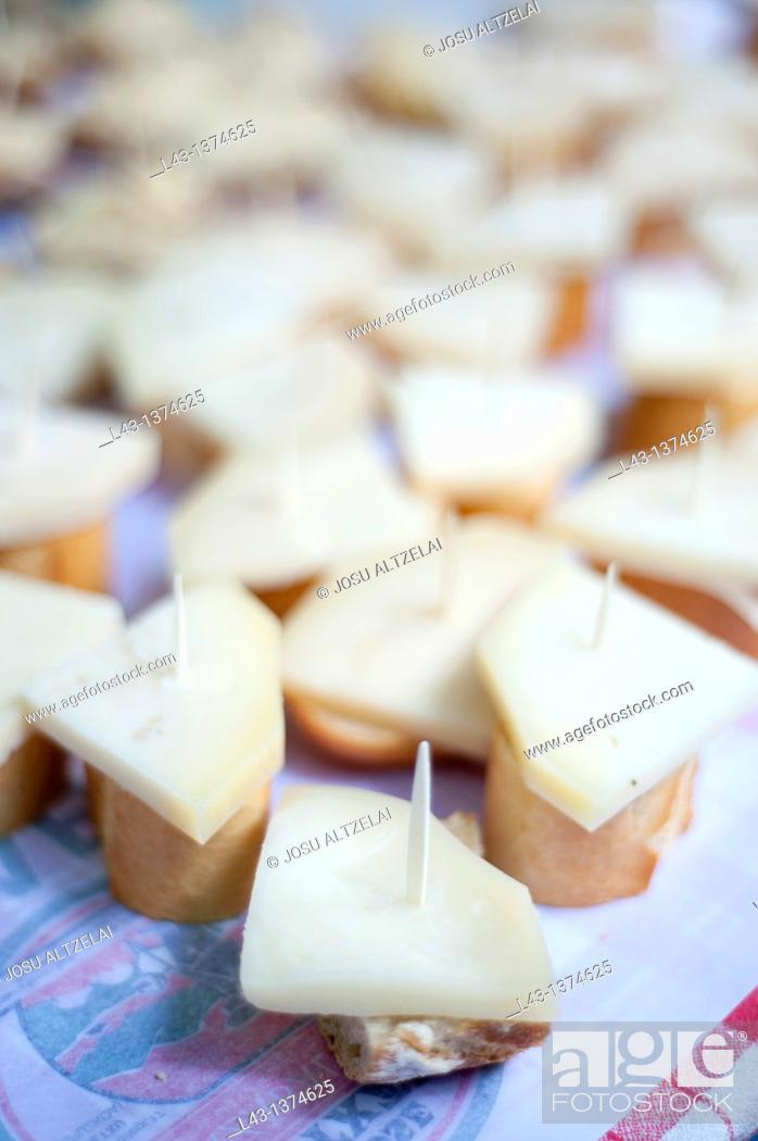 Stock Photo: cheese pintxos in extraordinary market in Ordizia,euskadi.