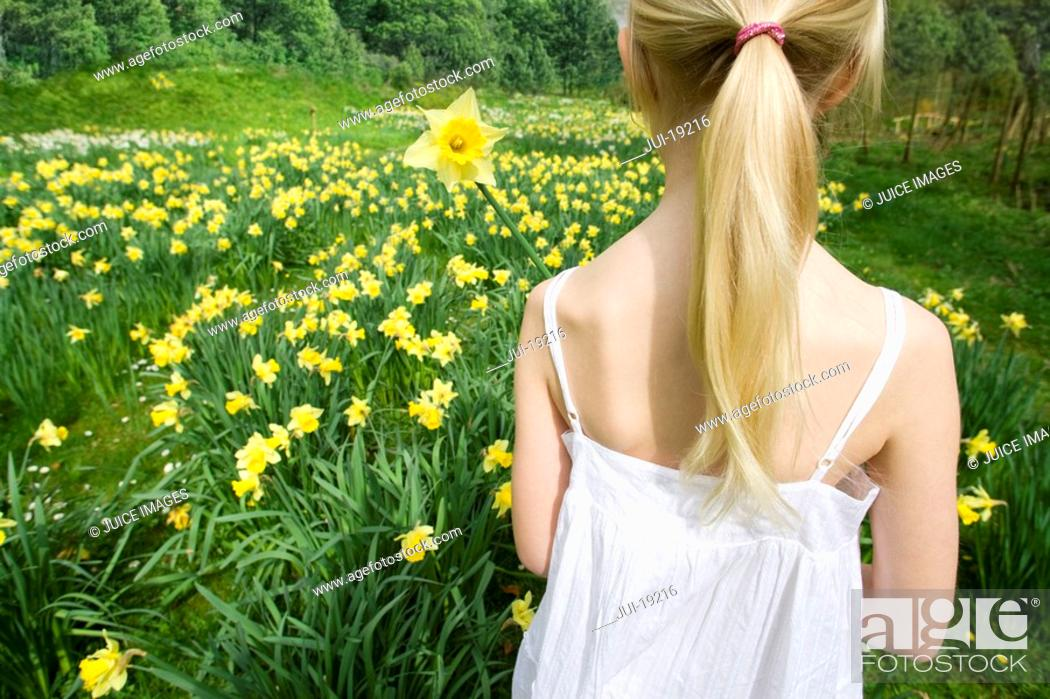 Stock Photo: Young girl holding yellow daffodil.