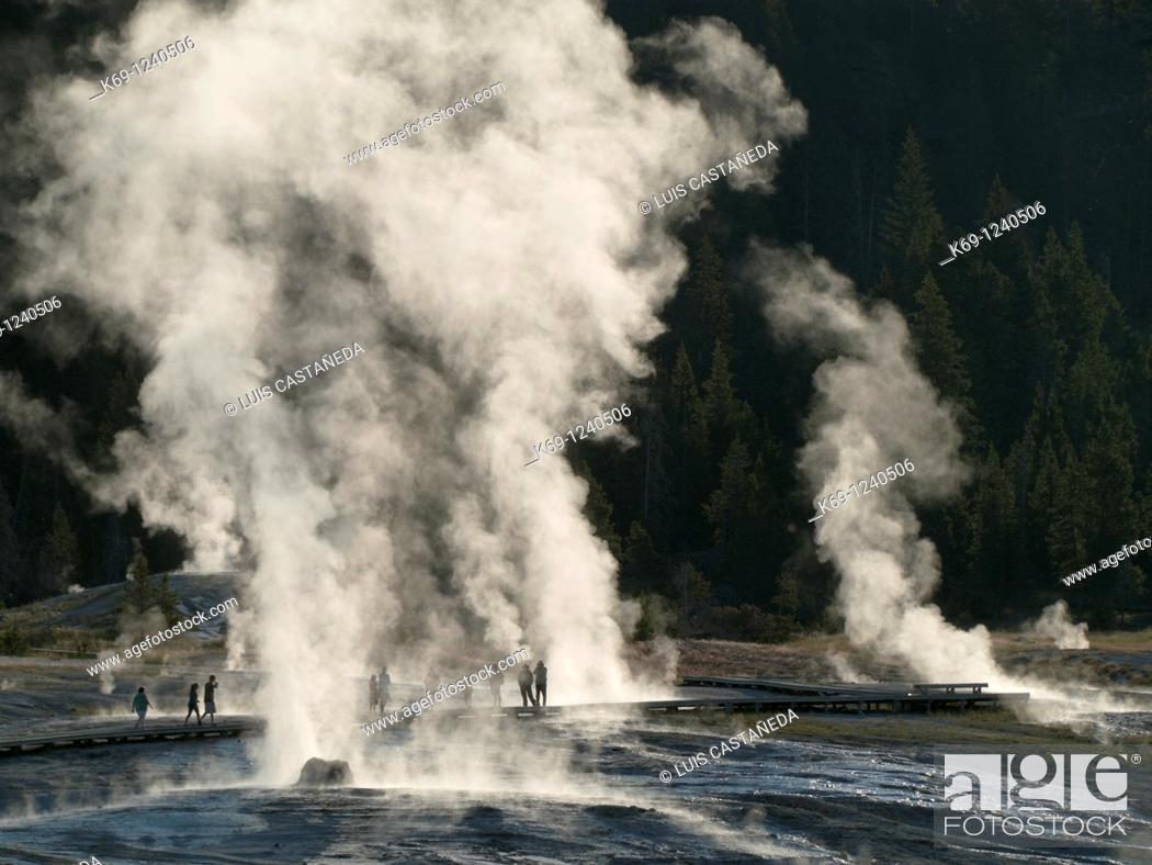 Stock Photo: Beehive Geyser  Yellowstone National Park Wyoming USA.