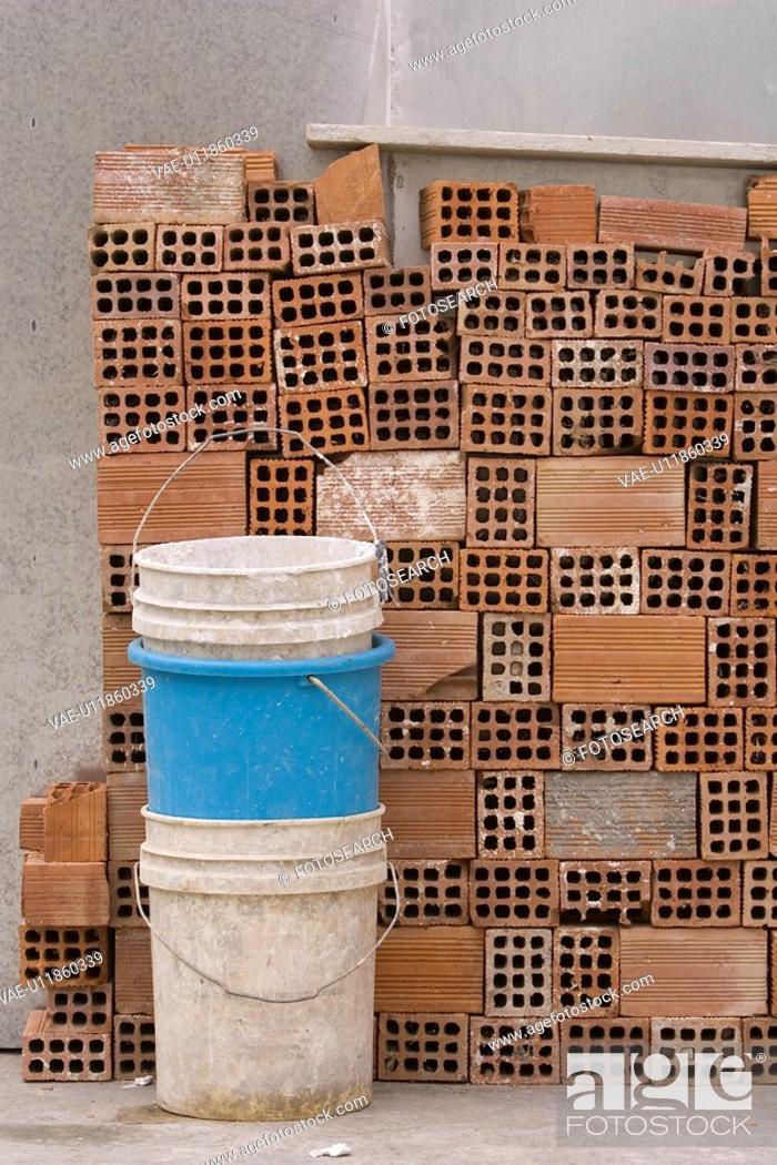 Stock Photo: Block, Bucket, Close-Up, Concrete, Concrete Block.