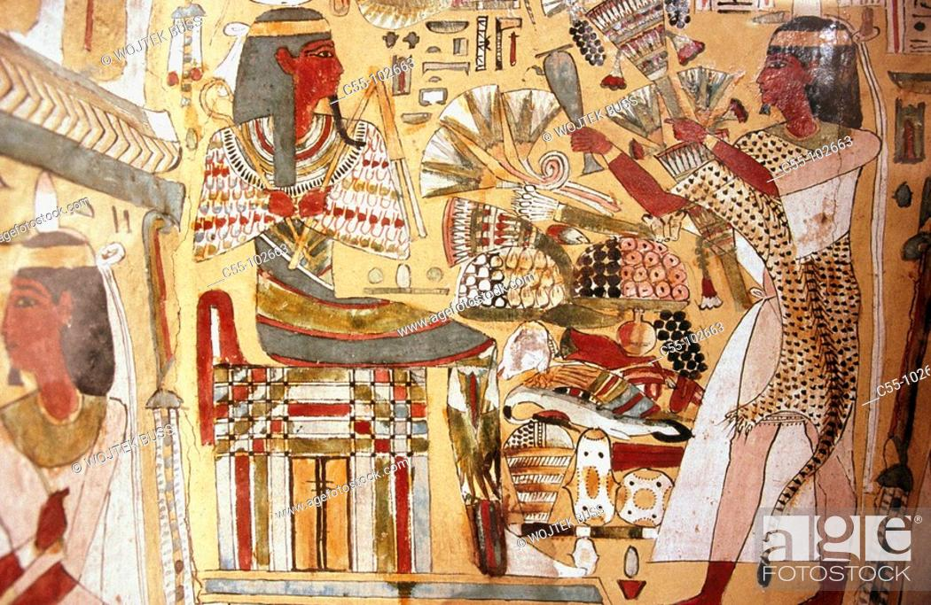Stock Photo: Egypt. Cairo Museum. Scribe's coffin. Temple of Amon. (ankh-ef-en-khonsu) (21th dynasty).