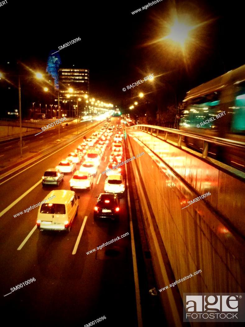 Stock Photo: Heavy traffic at night, Gran Via de Les Corts Catalanes, Barcelona, ??Catalonia.