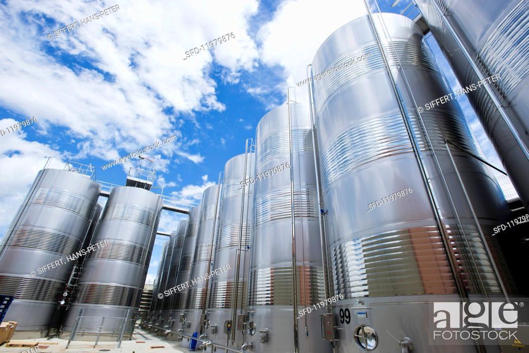 Stock Photo: A modern outdoor tank facility (Pagos del Rey, Felix Solis Group, Rueda, Spain).
